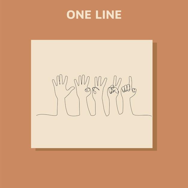 Disegno in linea continua. contando le mani sul dito da uno a cinque