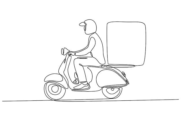 Disegno in linea continuo del corriere che consegna gli ordini su moto vettore