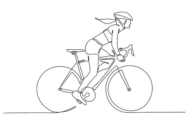 Disegno a tratteggio continuo della bicicletta di guida del ciclista isolata su fondo bianco