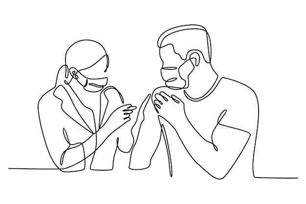 Medico di disegno a tratteggio continuo che fa iniezione al concetto di vaccinazione del paziente vettore