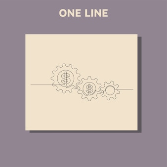 Disegno di linea continuo del dollaro e ruota dentata