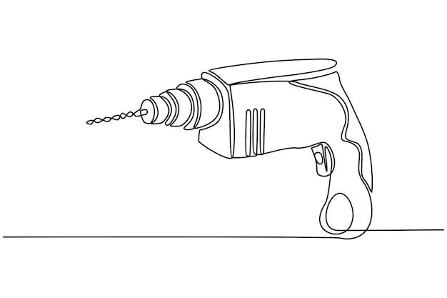 Disegno in linea continua del concetto di strumenti di carpenteria per trapano