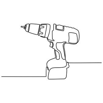 Disegno a tratteggio continuo dell'illustrazione di vettore dell'attrezzatura di carpenteria del trapano elettrico
