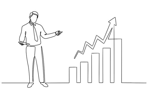 Disegno a tratteggio continuo dell'imprenditore alla ricerca di opportunità di investimento in piedi sulla crescita