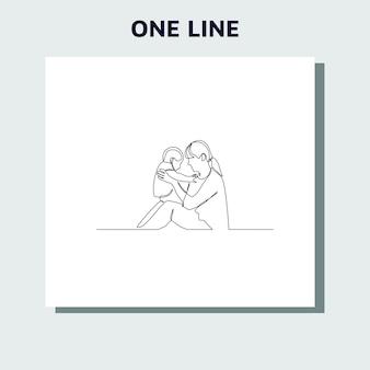 Disegno a tratteggio continuo del concetto di famiglia, genitorialità e persone