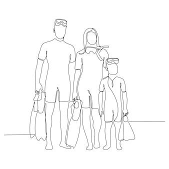 Disegno a tratteggio continuo di ritratto di famiglia che tiene pinne da immersione e posa
