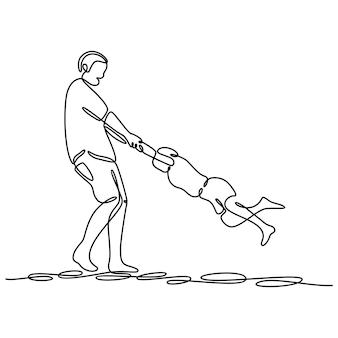 Disegno a tratteggio continuo padre e figlio che giocano insieme illustrazione vettoriale