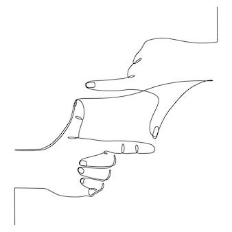 Disegno a linea continua del vettore della cornice del dito