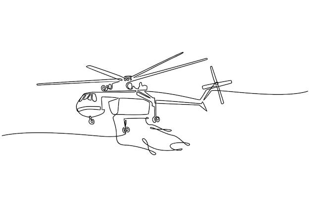 Disegno a tratteggio continuo illustrazione vettoriale di elicottero antincendio