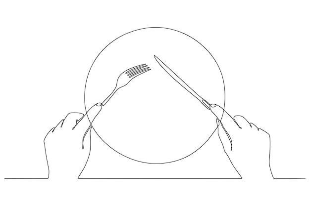 Disegno a linea continua di forchetta e coltello in mano illustrazione vettoriale