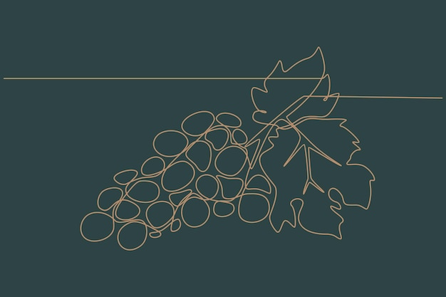 Disegno a tratteggio continuo dell'illustrazione vettoriale dell'uva