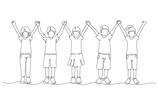 Disegno a tratteggio continuo di un gruppo di bambini che si tengono per mano illustrazione vettoriale
