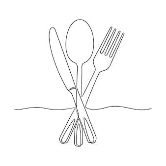 Disegno a tratteggio continuo illustrazione disegnata a mano di vettore del cucchiaio della forchetta del coltello