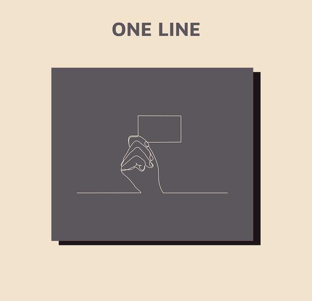 Disegno di una mano che tiene una carta di linea continuo