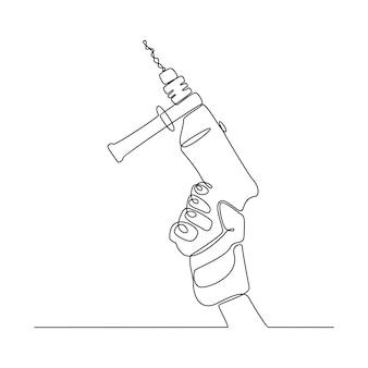 Disegno a linea continua di una mano che tiene un'illustrazione vettoriale di trapano per calcestruzzo