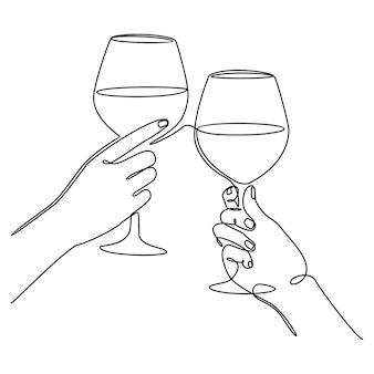 Disegno a linea continua di una mano che tiene un bicchiere di vino celebrazione festa concept
