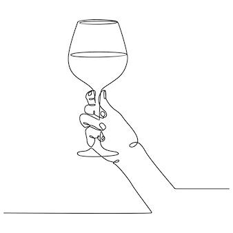 Disegno a tratteggio continuo di una mano che tiene un bicchiere di vino schizzo a inchiostro isolato