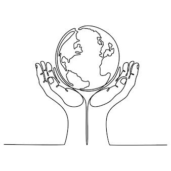 Disegno a tratteggio continuo di una mano che tiene un'illustrazione vettoriale del globo