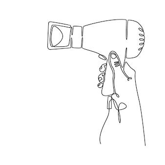 Disegno a tratteggio continuo della mano che tiene un'illustrazione vettoriale di asciugacapelli