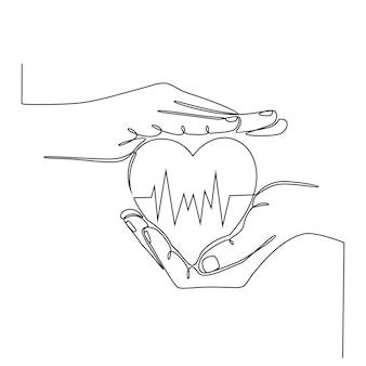 Disegno a tratteggio continuo mano che tiene il cuore con l'illustrazione di vettore del concetto di salute della linea ecg