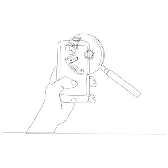 Disegno in linea continua di una mano che tiene un telefono cellulare con lente d'ingrandimento che identifica Vettore Premium