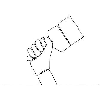 Disegno a tratteggio continuo di una mano che tiene un'illustrazione vettoriale di un pennello