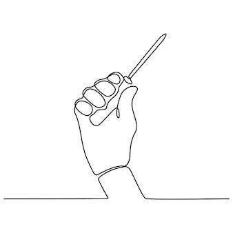 Disegno in linea continua di una mano che tiene un'illustrazione vettoriale di un cacciavite