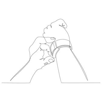 Disegno in linea continua di una mano con un'illustrazione vettoriale di un orologio da polso