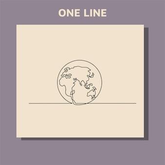 Disegno in linea continuo di mani che tengono il globo terrestre