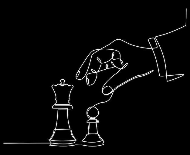 Disegno a linea continua di mani che tengono la figura di un pezzo degli scacchi e buttano giù la regina