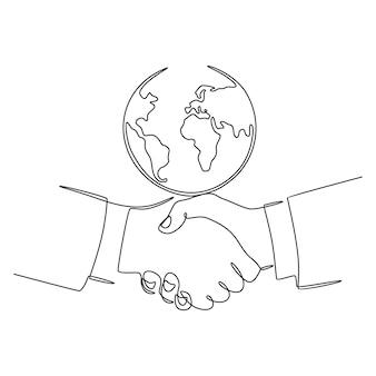 Disegno a tratteggio continuo stretta di mano con il globo concetto di affari internazionali e vettore di pace nel mondo
