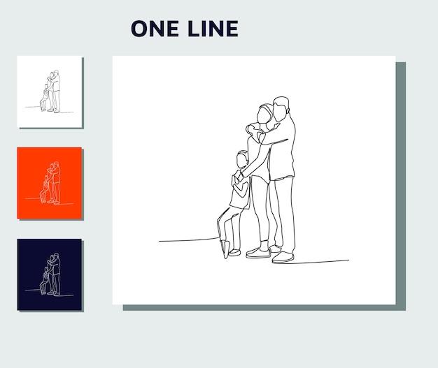 Disegno di linea continuo della madre padre di famiglia felice e un bambino che gioca