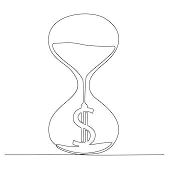Disegno a tratteggio continuo della clessidra con l'illustrazione di vettore del simbolo del dollaro