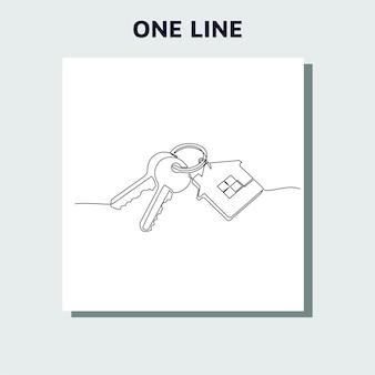 Disegno a linea continua di chiavi di casa con portachiavi a forma di casa