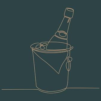 Disegno a tratteggio continuo del secchiello del ghiaccio con l'illustrazione vettoriale della birra