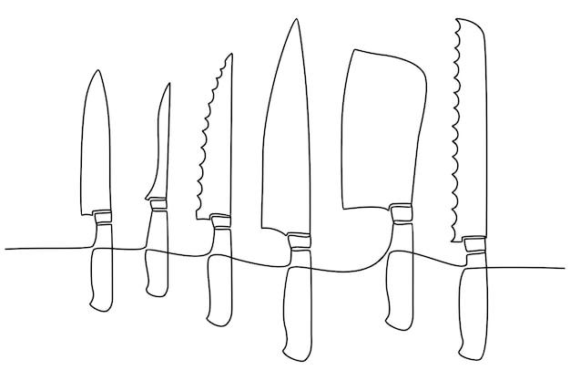 Disegno in linea continua di utensili da cucina o utensili da cucina