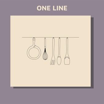 Disegno a tratteggio continuo di utensili da cucina o utensili da cucina.