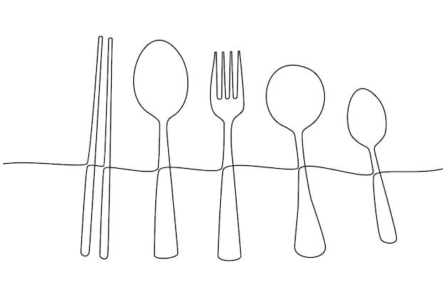 Disegno a tratteggio continuo dell'illustrazione di vettore delle posate e delle bacchette degli utensili da cucina