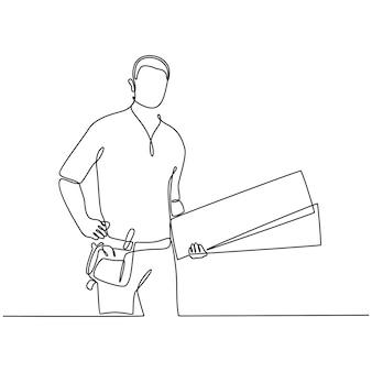 Disegno a tratteggio continuo di un carpentiere maschio che tiene in mano diverse tavole isolate su sfondo bianco vettore