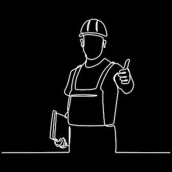 Disegno a tratteggio continuo di operaio edile maschio con casco e appunti
