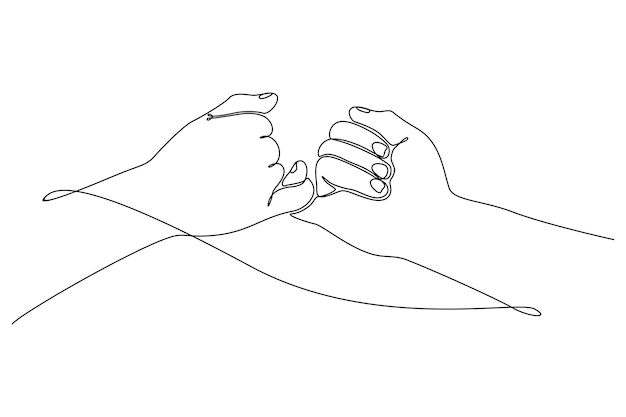Disegno a tratteggio continuo di mani maschili e femminili che si tengono l'un l'altro concetto romantico vettore