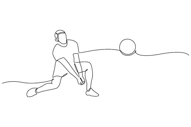 Disegno a tratteggio continuo del giocatore di pallavolo professionista maschio isolato con il concetto di forma fisica della palla