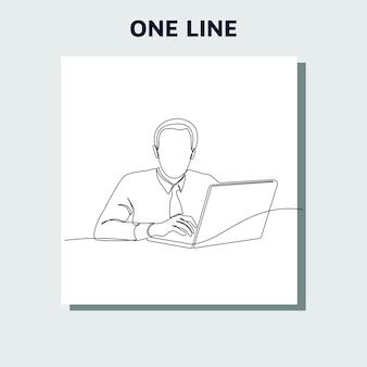 Disegno a tratteggio continuo di un uomo in cerca di idee davanti a un computer