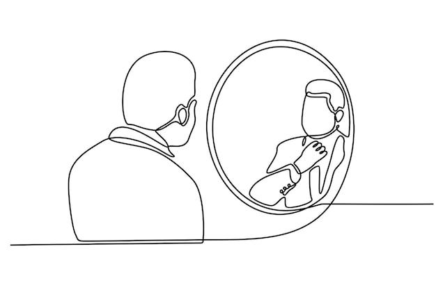Disegno a tratteggio continuo dell'uomo nell'illustrazione vettoriale dello specchio