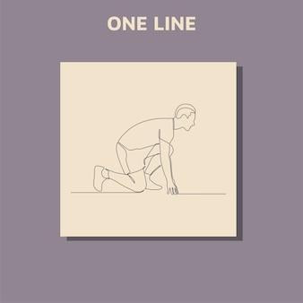 Disegno di linea continuo dell'uomo che corre concetto di arte di un uomo che corre