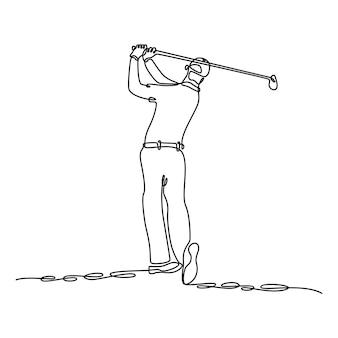 Disegno a linea continua di un uomo che spara in un'illustrazione vettoriale di una partita di golf