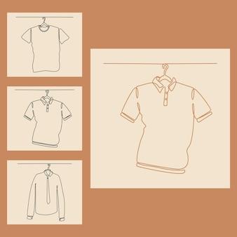 Disegno a tratteggio continuo dell'illustrazione di vettore stabilita dell'abbigliamento degli uomini