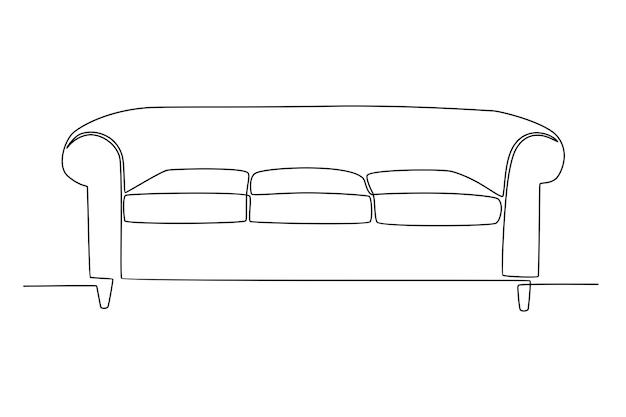 Disegno a tratteggio continuo dell'illustrazione di vettore della disposizione dei posti a sedere del sofà moderno