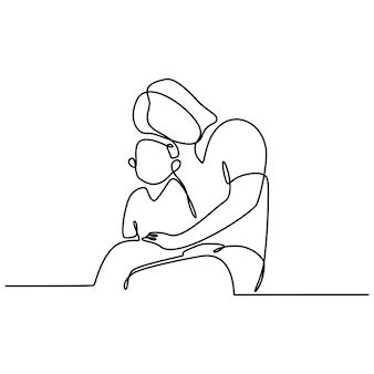 Disegno a tratteggio continuo di una madre e una figlia sedute sulle ginocchia concetto di famiglia felice vettore