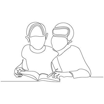 Disegno a tratteggio continuo di una madre che insegna al suo bambino leggendo un libro
